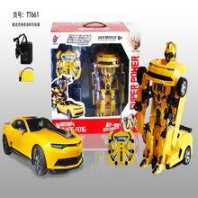 佳奇一鍵變形遙控車兒童電動玩具機器人充電汽車人聲光玩具66192BLX