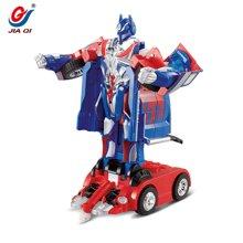 佳奇声控一键变形遥控车儿童充电玩具机器赤焰擎天变形车669Y135BLX