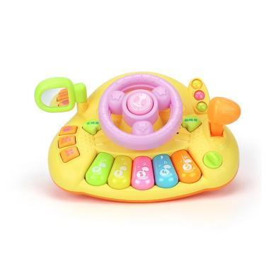 源?#30452;?宝宝仿真模拟开车方向盘 多功能音乐琴?#36866;?#26426;早教益智玩具