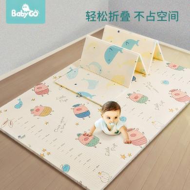 babygo寶寶XPE爬行墊加厚家用爬爬墊客廳嬰兒童折疊地墊195*150*1cm
