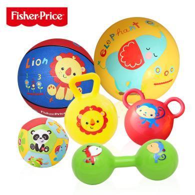 美國FisherPrice費雪兒童玩具球整套裝F0917訓練球寶寶手抓布球搖鈴球嬰幼兒捏捏叫洗澡玩具鈴鐺球套裝