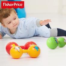费雪哑铃球宝宝玩具手抓球婴儿球4寸手柄发声铃铛球 健身拉拉球