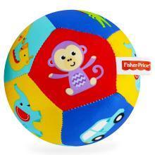 费雪动物玩具球宝宝手抓球摇铃球认知球 婴儿摇铃布球F0855