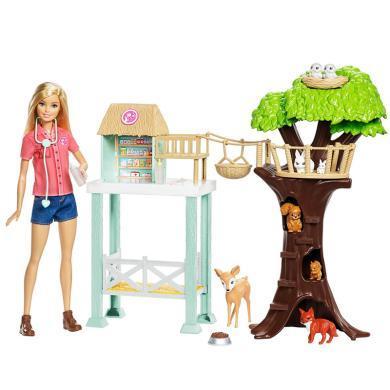 Barbie芭比娃娃寵物套裝女孩玩具禮盒之動物診所套裝FCP78