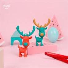 杜瓦尔DuvaLL 网红杯麋鹿杯品牌 麋鹿橡皮擦 卡通炫酷(一盒三只装)