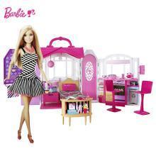Barbie芭比娃娃 闪亮度假屋(带娃娃)CFB65 女孩礼盒套装