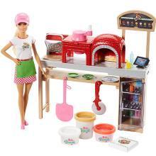 芭比娃娃Barbie芭比之批萨学院 大礼盒套装 女孩公主玩具FHR09