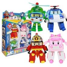 韩国Q版变形机器人 汽车消防变形车 模型 四只礼品玩具礼盒包装ABB83168-4