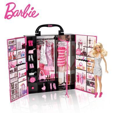 Barbie夢幻衣櫥手提禮包芭比娃娃換裝套裝X4833大禮盒公主女孩生日禮物
