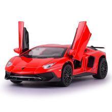 仿真合金蘭博LP750-4跑車賽車模型 兒童聲光回力玩具車DJ-JY32126