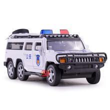 兒童仿真6輪悍馬警車合金車模型 特警聲光回力玩具汽車DJ6653