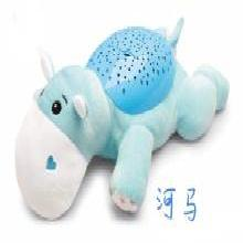 兒童卡通動物電動音樂星空投影燈河馬蜜蜂大象安睡燈安撫毛絨玩具TB-TT56