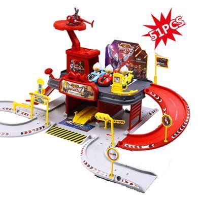 萌牛星 奧特曼停車場玩具兒童鋼鐵飛龍多層軌道車子合金飛機男孩益智玩具
