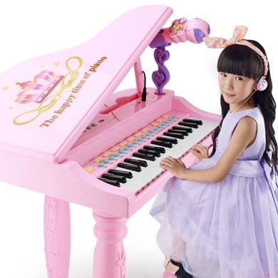 儿童早教音乐电子琴女孩益智玩具仿真多功能小?#26234;?#24102;麦克风耳机TX8815