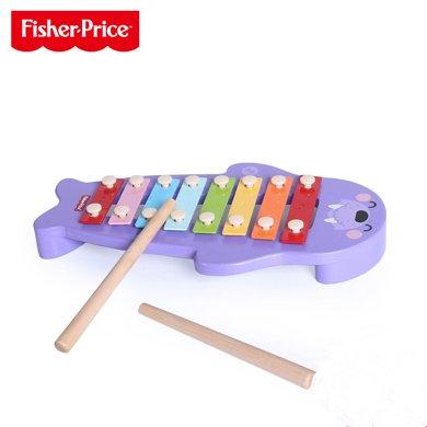美国FisherPrice费雪海象敲击琴 宝宝早旋律海象敲琴小木琴木制八音手敲音乐玩具1-2-3岁FP2011