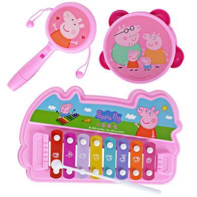 小豬佩奇敲琴撥浪鼓搖鈴鼓寶寶樂器套裝6-12個月嬰兒音樂玩具益智