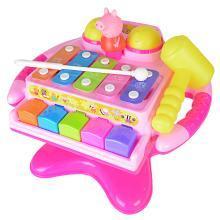 小猪佩奇手敲琴婴幼儿宝宝玩具1-2岁3益智音乐八音旋转方向盘乐器