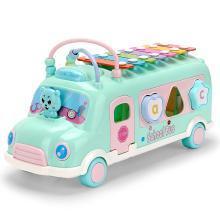 源乐堡 儿童玩具?#30331;?#29748;巴士车多功能积木绕珠敲打音乐益智手敲八音琴小车