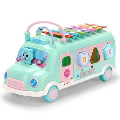 源乐堡 儿童玩具车敲琴巴士车多功能积木绕珠敲打音乐益智手敲八音琴小车
