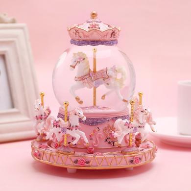 樂心多 旋轉木馬音樂盒水晶球八音盒情人節送女友兒童生日禮物 yqxg19