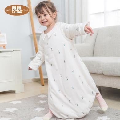 良良婴儿睡袋幼儿春秋宝宝儿童新生儿防踢被带尿垫睡袋四季通用款
