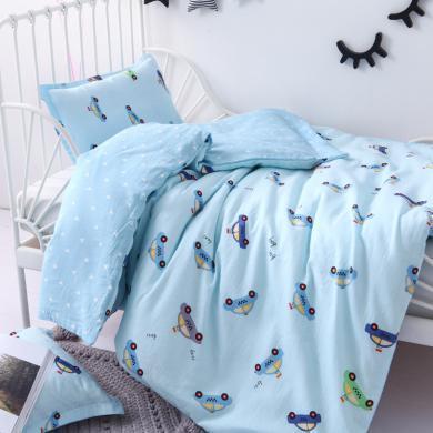 雙層紗布兒童床棉被套寶寶新生嬰兒全棉幼兒園被套被罩