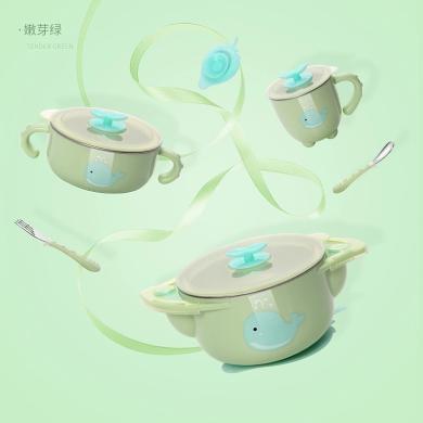 呵寶 兒童餐具寶寶防摔碗吸盤碗輔食碗勺套裝 嬰兒注水保溫碗