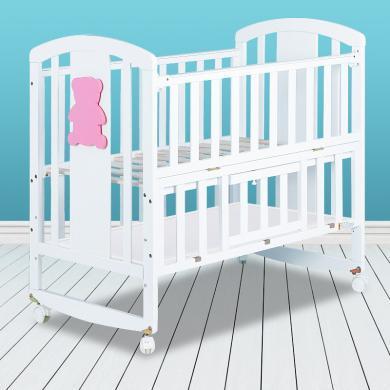 呵寶嬰兒床實木多功能寶寶床兒童游戲床寶寶搖床帶蚊帳