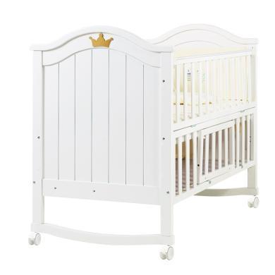 呵寶嬰兒床實木歐式油漆寶寶床多功能BB床新生兒搖籃床帶滾輪