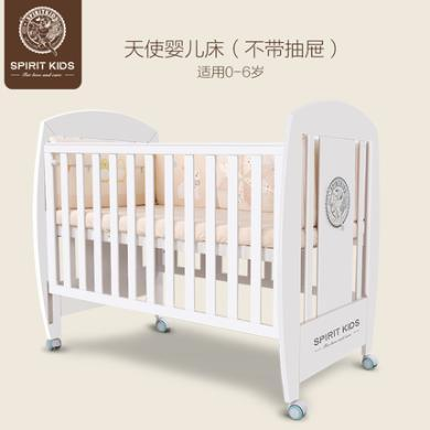 spiritkids寶寶床實木嬰兒床0-6歲可變游戲床幼兒床帶滾輪兒童床
