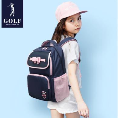 高爾夫GOLF輕便中小學生書包大容量休閑雙肩背包防水英倫時尚多隔層可裝14英寸筆記本夜光反光條 X-D933951