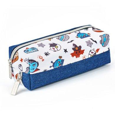 上品匯原創卡通雙面拉鏈大容量筆袋分層收納袋帆布牛仔學生筆袋