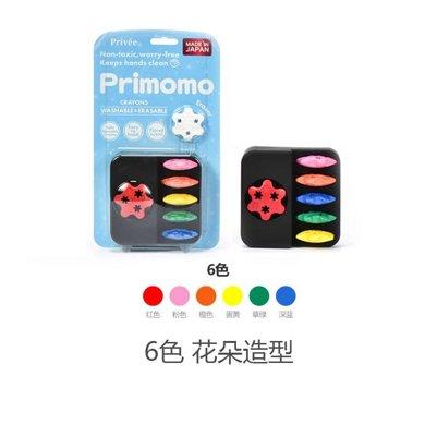 【香港直郵】日本 primomo兒童蠟筆6色 無毒安全可水洗益智蠟筆*1盒(2種形狀,下單請備注)