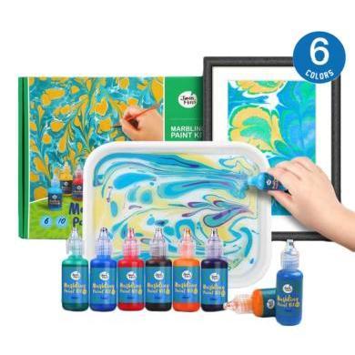 美樂水拓畫套裝浮水畫顏料兒童無毒手指畫水彩畫畫套裝禮盒濕拓畫