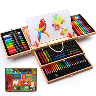 美樂兒童美術用品繪畫套裝蠟筆水彩筆工具箱兒童木質文具禮盒畫畫