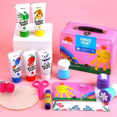 美乐 儿童手指画套装洗 宝宝画画颜料安全颜料儿童无毒水工具套装 新老包装随机发货