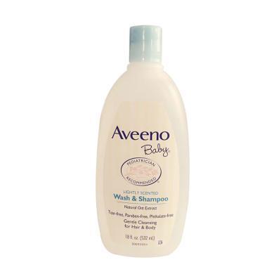 美国Aveeno艾维诺 宝宝天然燕麦沐浴液洗发水二合一 532ml