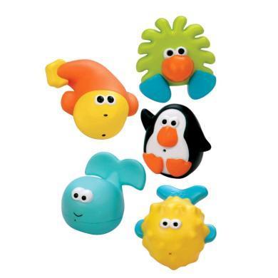 【支持购物卡】美国Sassy 婴儿洗澡漂浮玩具套装 宝宝喷水益智玩具 儿童戏水5件套