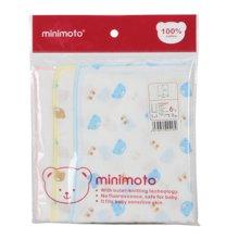minimoto紗布方巾4入印花+2入米白30x30cm(YA0407)