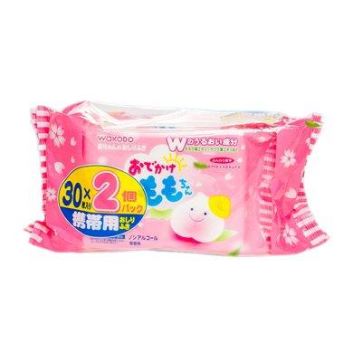 【临期品】日本和光堂wakodo 婴儿桃叶精华护肤湿巾(30片*2包)
