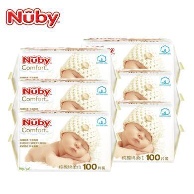 努比(Nuby) 新生嬰兒棉柔濕巾 寶寶干濕兩用巾 加厚紙巾干濕巾 純棉柔巾100抽 美國品牌 棉柔巾100抽6包