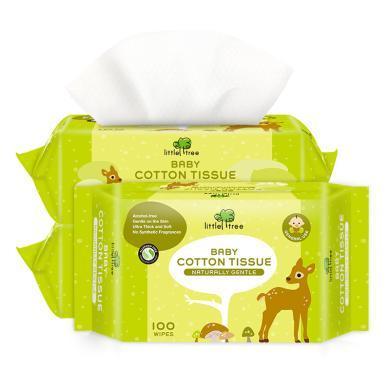 【嬰幼兒棉柔巾100抽3包】小樹苗嬰幼兒棉柔巾干濕兩用