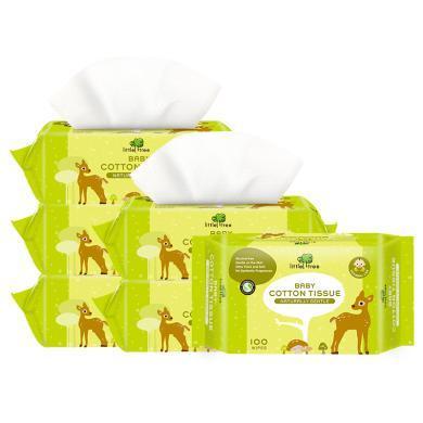 【嬰幼兒棉柔巾100抽6包】小樹苗嬰幼兒棉柔巾干濕兩用