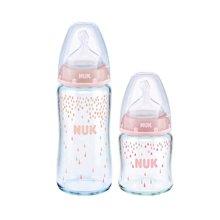 德国NUK宽口径硅胶奶嘴玻璃奶瓶120毫升+240毫升 颜色随机