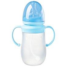 贝儿欣8安士宽口径硅胶防摔防胀气奶瓶-粉蓝BS4891