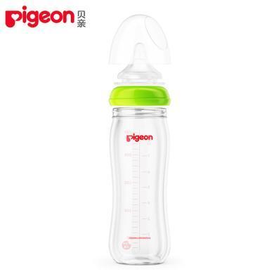 貝親寬口徑玻璃奶瓶(綠色)(240ml)