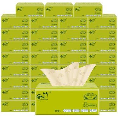 佳益 絲竹本色抽紙巾3層100抽/包家用竹漿紙巾母嬰適用不漂白面巾紙餐巾紙整箱裝衛生紙 36包/整箱裝