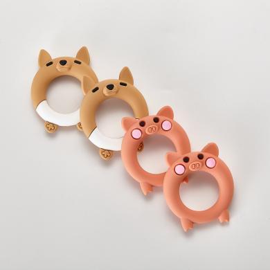 三只小猫 婴儿牙胶 硅胶安抚奶嘴 卡通狐狸造型一体式硅胶安抚奶嘴 afyj03