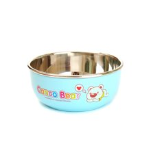 日康寶寶不銹鋼碗帶蓋子防燙飯碗嬰兒童餐具(藍色)(RK3805)