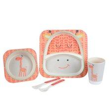 卓理/zolitt 竹纤维儿童餐具分格餐盘婴儿卡通饭碗宝宝碗勺叉子五件套装